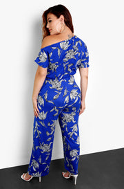 Blue Tropical Print Over The Shoulder Plus Size