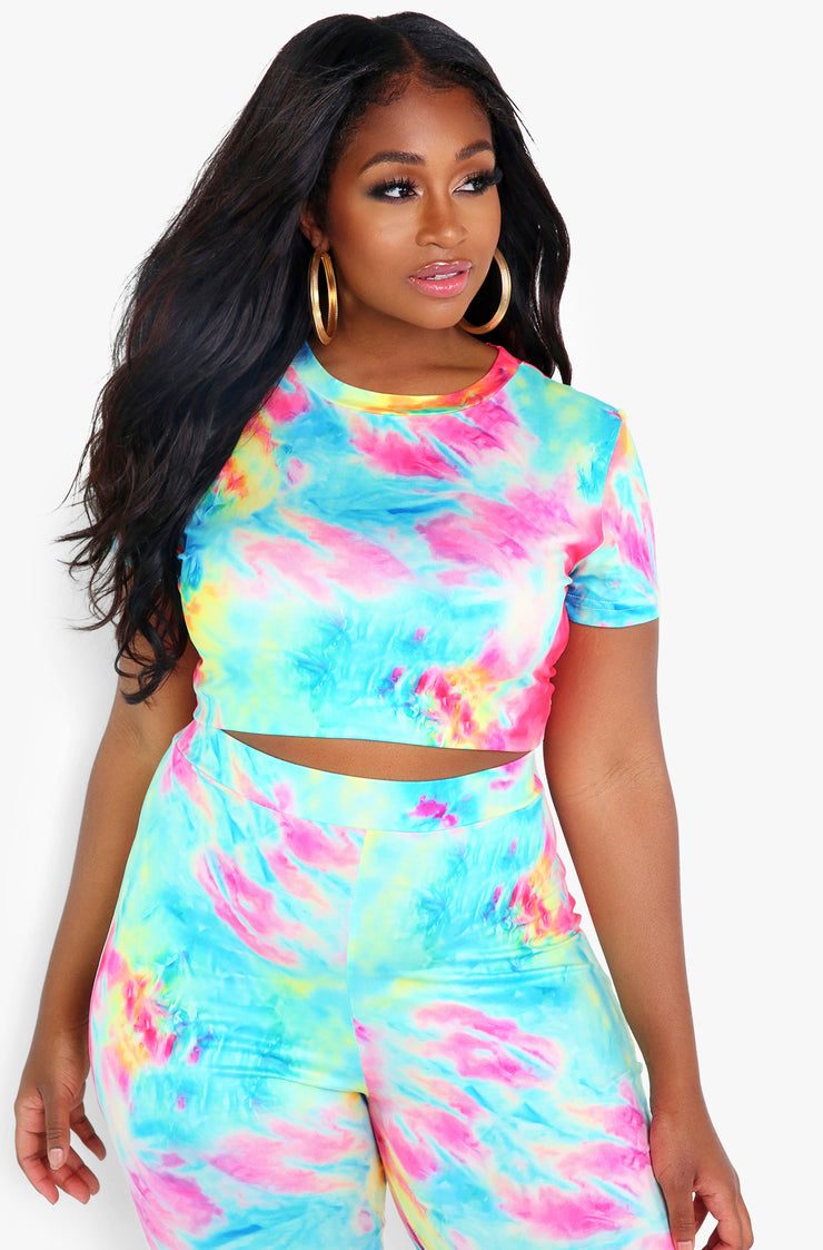 Pink Tie Dye Crop Top Plus Sizes