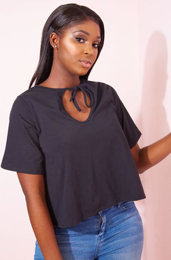 Black Oversized Keyhole Crop Top plus sizes