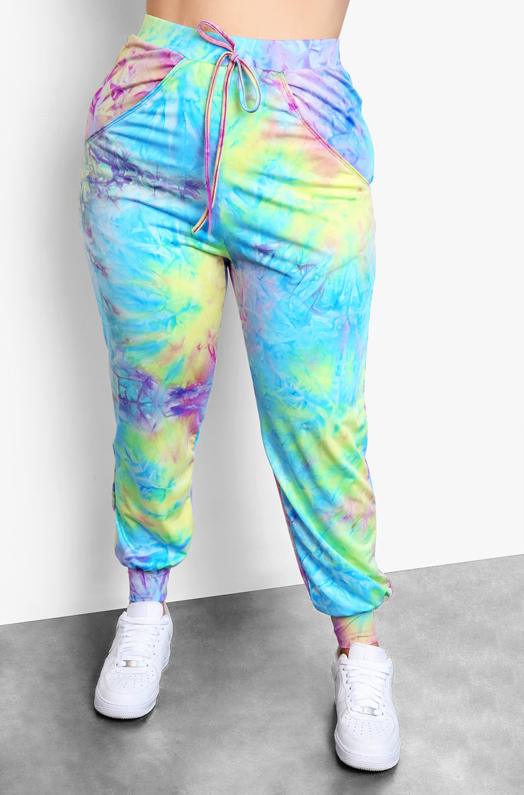 Purple Tie Dye High Waisted Joggers Plus Sizes