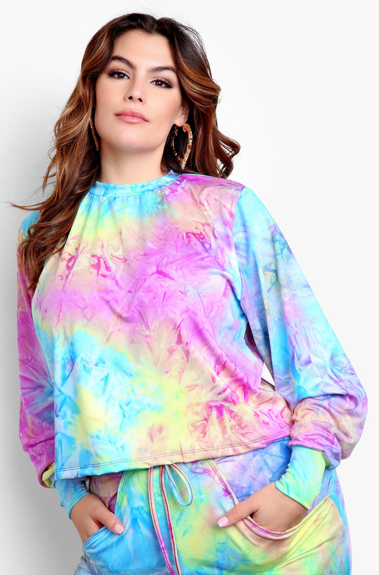 Purple Tie Dye Long Sleeve Top Plus Sizes