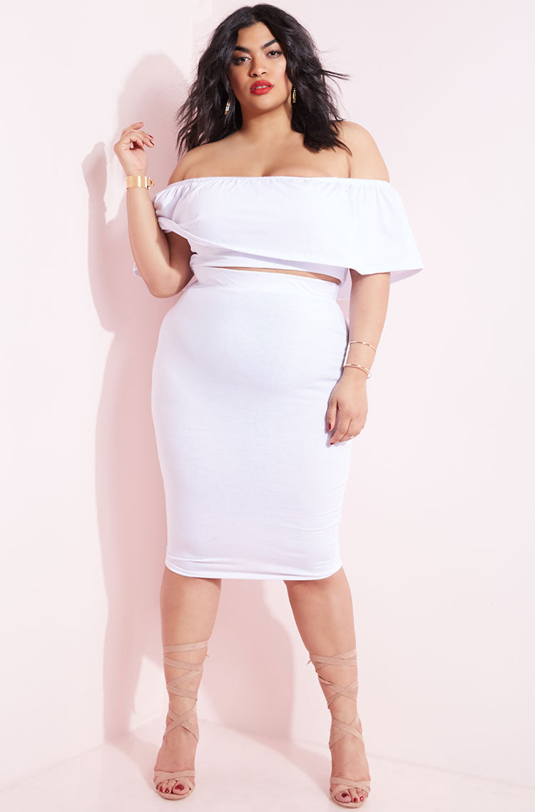 White Bodycon Midi Skirt plus sizes