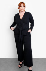 Black Wide Leg Lounge Pants Plus Sizes