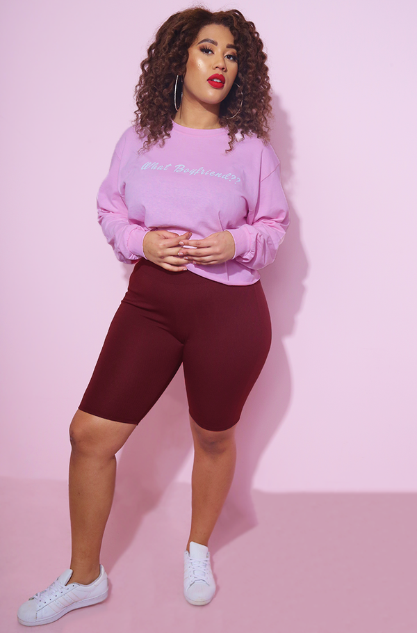 what boyfriend Cropped Pink Sweatshirt plus sizes
