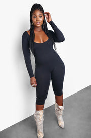 Black Scoop Neck Long Sleeve Cropped Jumpsuit Plus Sizes