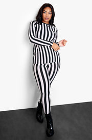 Black Striped Long Sleeve Top & Leggings Set Plus Sizes