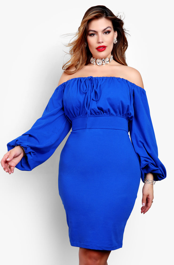 Royal Blue Over The Shoulder Puff Sleeve Bodycon Mini Dress Plus Sizes