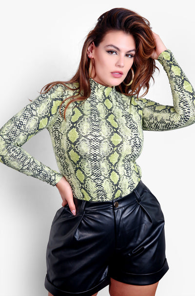 Green Snake Print Bodysuit Plus Sizes