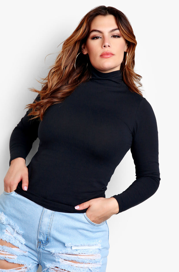 Black Plus Size Turtleneck Long Sleeve Top