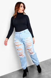Light Blue High Waisted Distressed Plus Size Jeans
