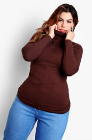 Brown Plus Size Turtleneck Long Sleeve Top