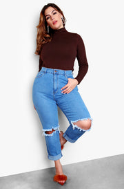 Blue High Waisted Distressed Mom Jeans Plus Sizes