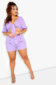 Lilac Puff Sleeve Front Tie Crop Top Plus Sizes