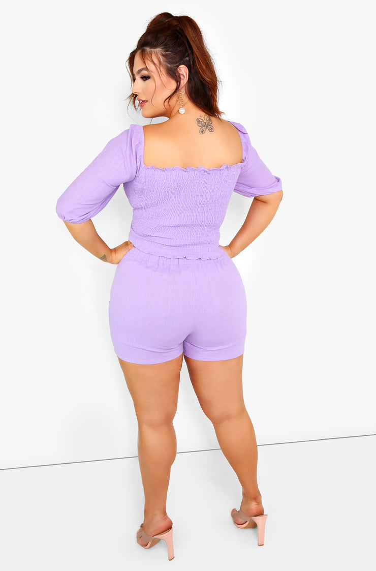 Lilac Button Detail Shorts Plus Sizes