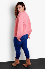 Pink Oversized Buttoned Up Cardigan Plus Sizes