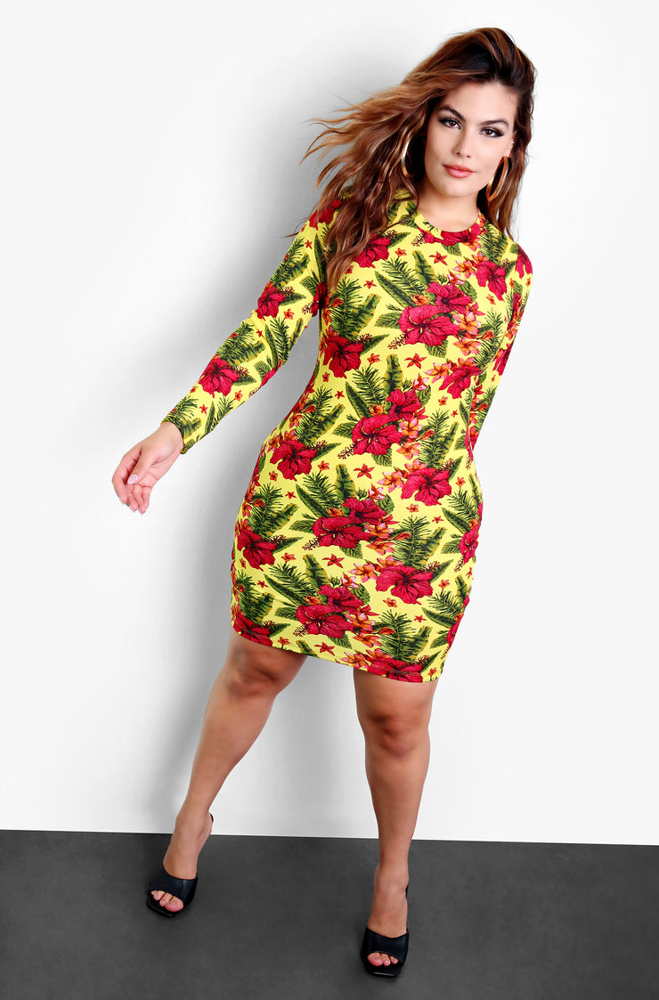 Yellow Long Sleeve Floral Bodycon Mini Dress Plus Sizes