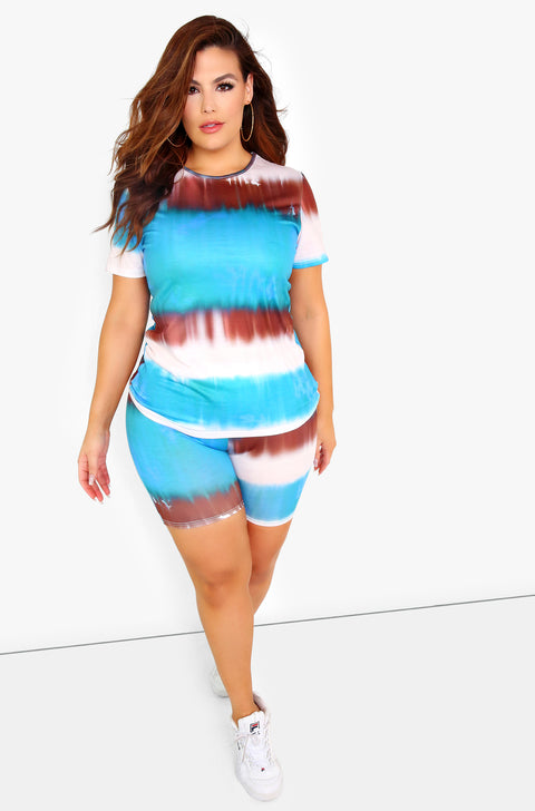 Blue Tie Dye T-Shirt Plus Sizes