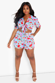 Blue Floral Pleated Shorts Plus Sizes