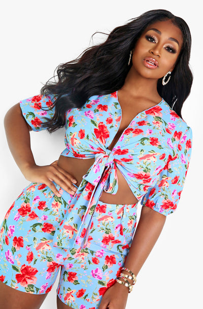 Blue Front Tie Floral Crop Top Plus Sizes