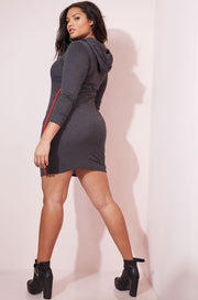 Gray Hooded Bodycon Mini Dress plus sizes