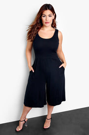 Black Tank Wide Leg Jumper w. Pockets Plus Sizes