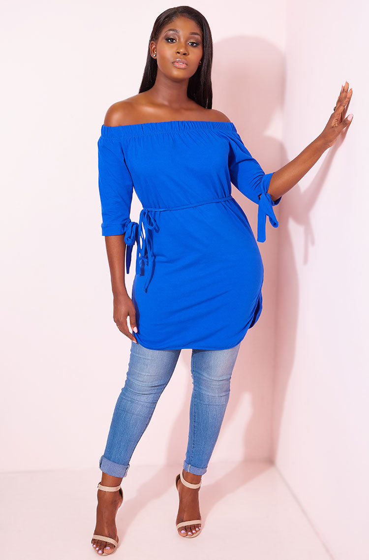 Royal Blue Over The Shoulder Tunic plus sizes