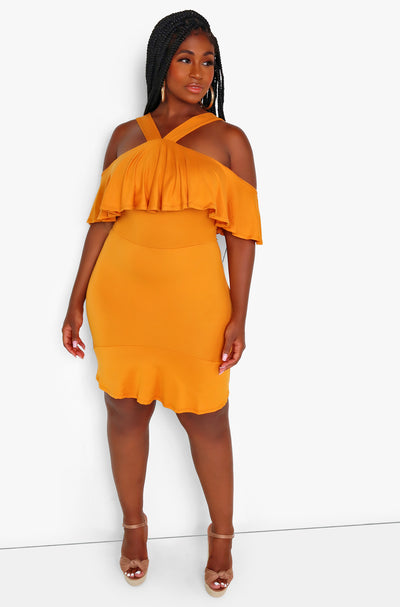 Orange Ruffle Hem Mini Dress Plus Sizes