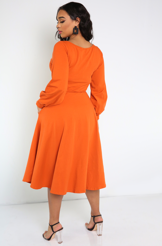Burnt Orange Boat Neck Skater Midi Dress