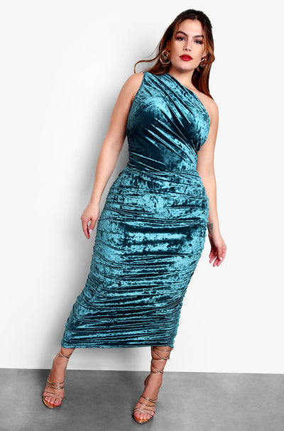 Aquamarine Plus Size One Shoulder Velvet Bodycon Midi Dress