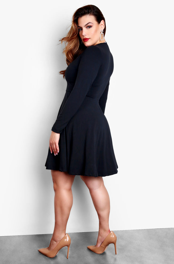 Black Plus Size Long Sleeve Criss Cross Cut Out Skater Mini Dress