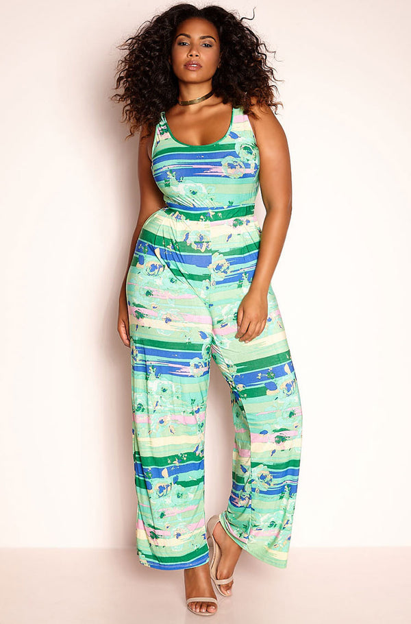 Green Tank Style Jumpsuit plus sizes