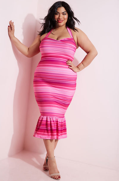Fuchsia Peplum Hem Bodycon Midi Dress plus sizes