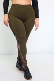 Olive Mesh Camo High Waist Leggings Plus Sizes
