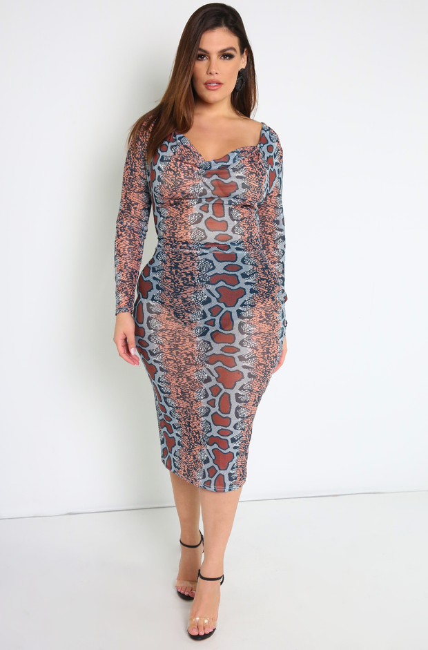 Mesh Snake Print Long Sleeve Cowl Neck Midi Dress