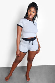 Gray Cropped Top and Shorts Set Plus Size