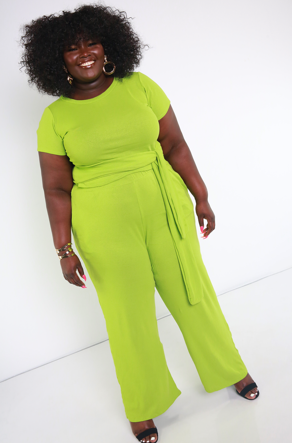 Lime Green Crew Neck Crop Top Plus Sizes
