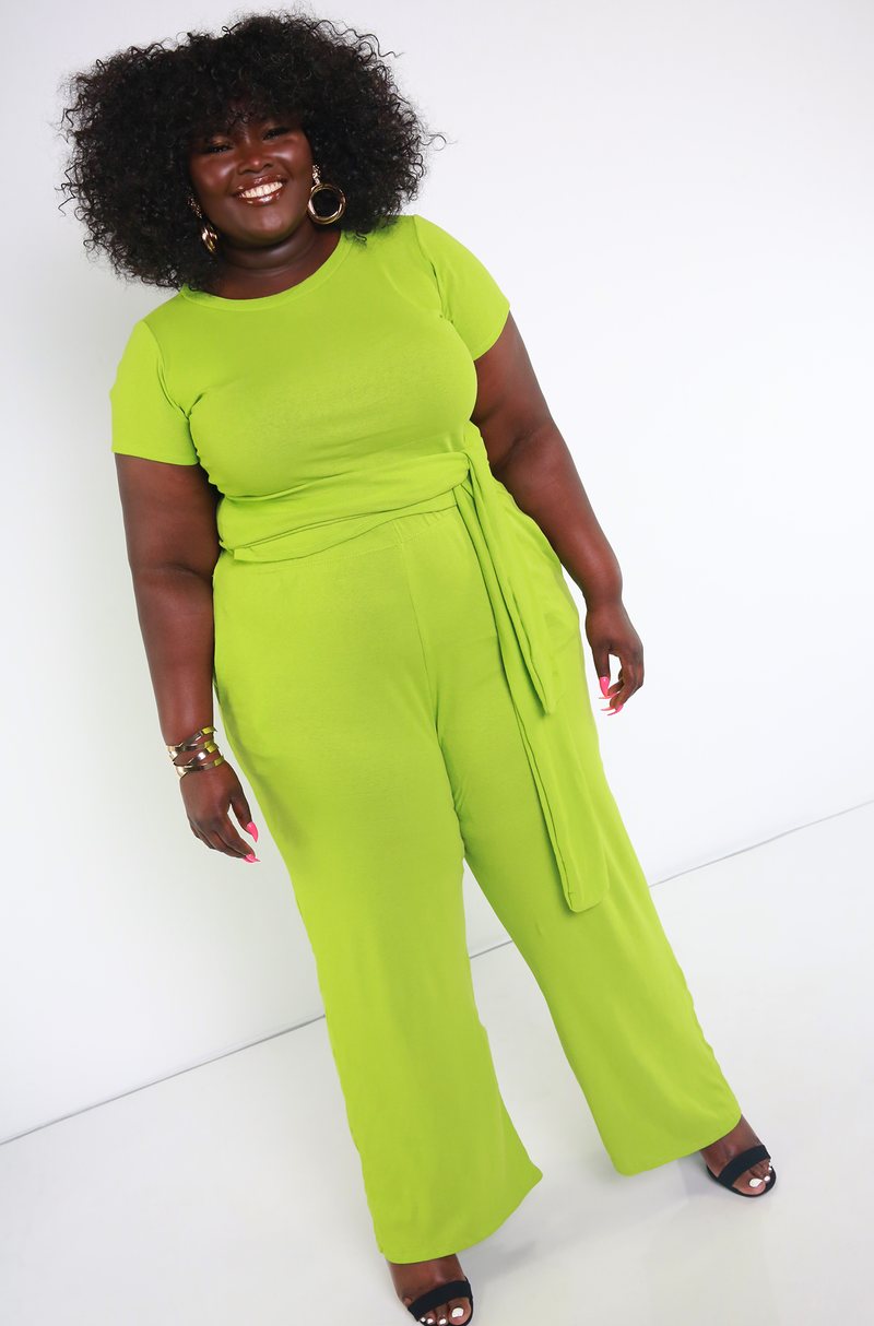 Lime Green Wide Leg Pant With Pockets Plus Sizes