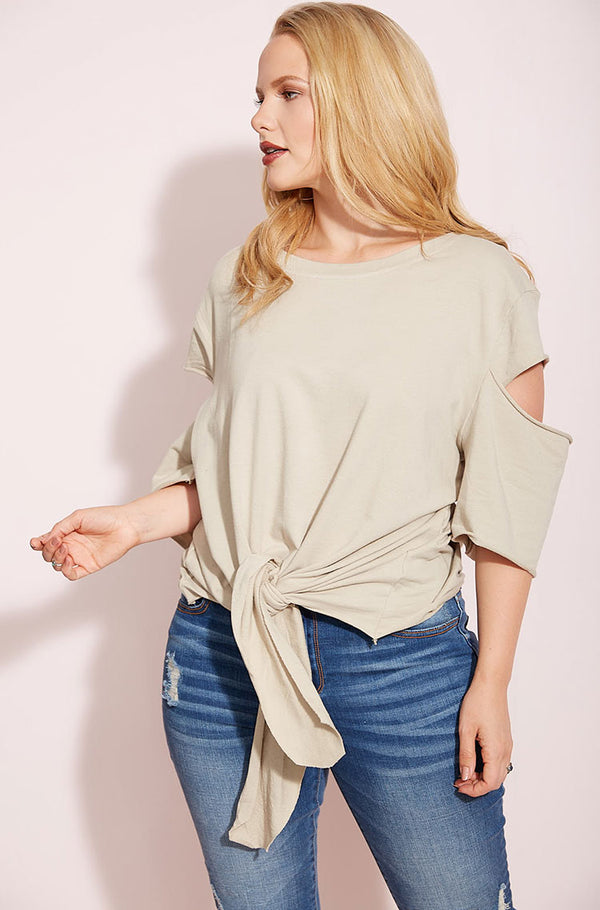 Gray Cut-Out Sweater Top plus sizes