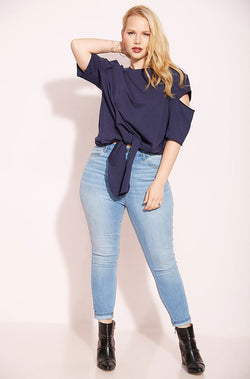 Navy Cut-Out Sweater Top plus sizes