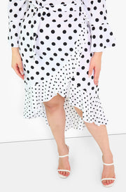 Black Asymmetrical Polka Dot Midi Dress Plus Sizes