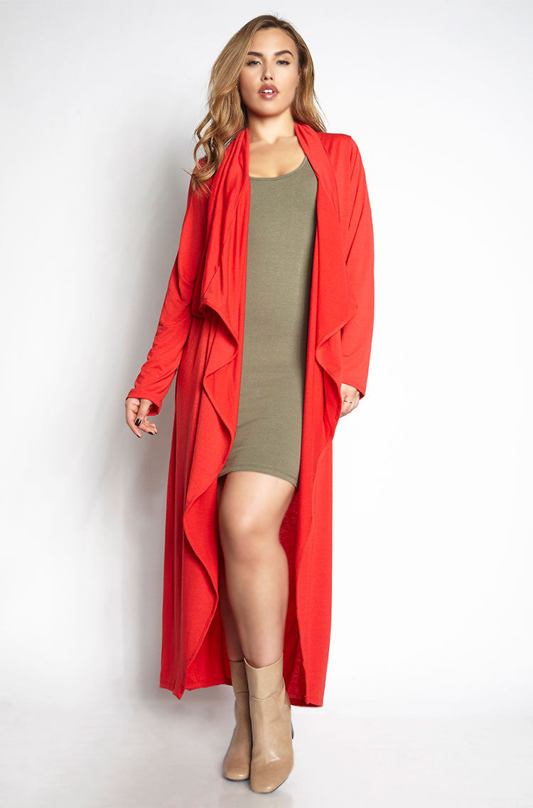 Red Cotton Waterfall Duster plus sizes