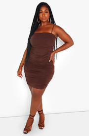 Brown Ruched Strappy Mini Dress Plus Sizes