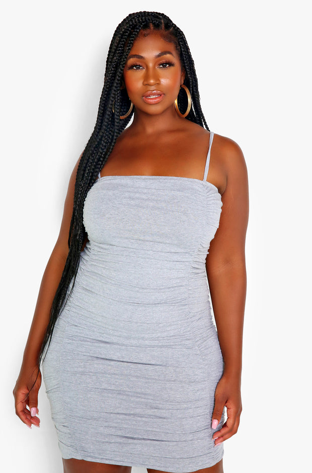 Gray Ruched Strappy Mini Dress Plus Sizes