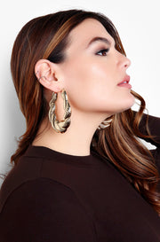Gold Twisted Gold Hoop Earrings