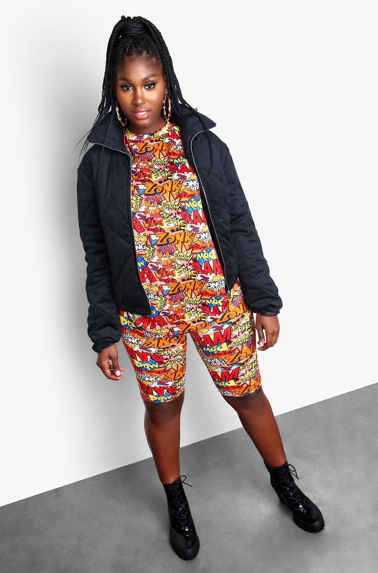 Orange Comic Graphic Short Sleeve Top & Bermuda Plus Size Leggings Set