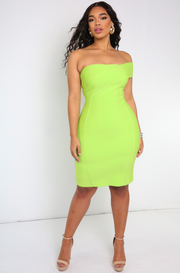 Lime Green Bandage One Shoulder Mini Dress