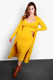 Mustard Essential Strappy Skater Midi Dress w. Pockets Plus Sizes