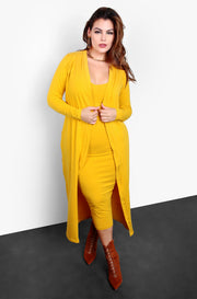 "Rebdolls ""A Lot To Love"" V-Neck Midi Dress & Cardigan Set - Mustard"