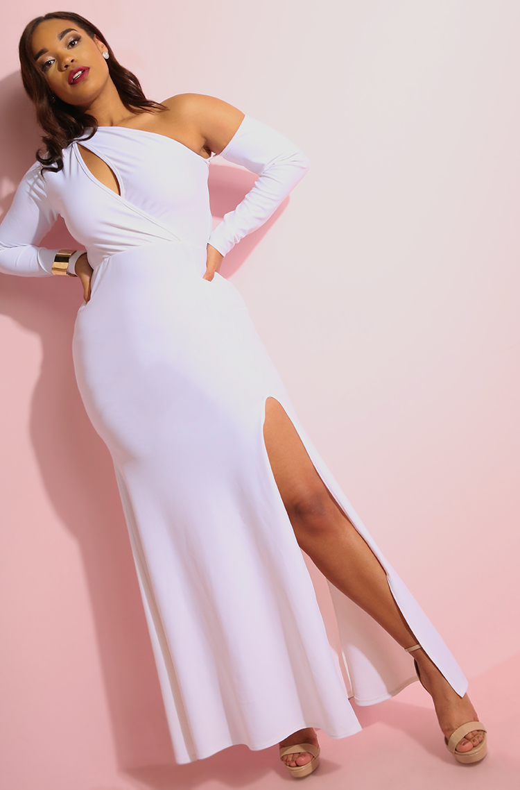 White High Slit Maxi Gown, off the shoulder plus sizes