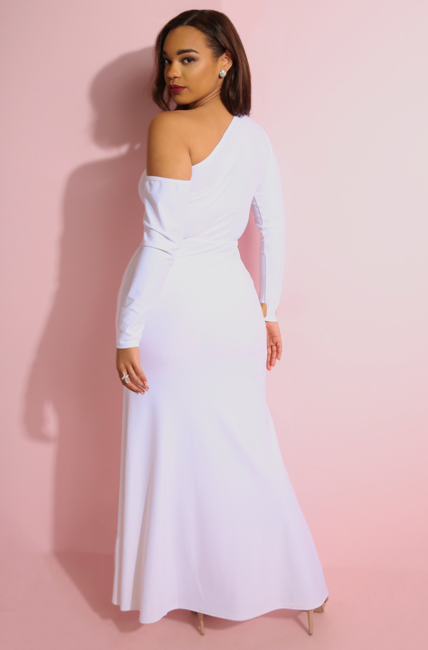 White Side Slit Bodycon Maxi Gown plus sizes